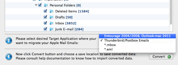 Convert Apple mail to outlook 2011