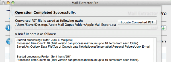 Convert Apple mail mbox to pst