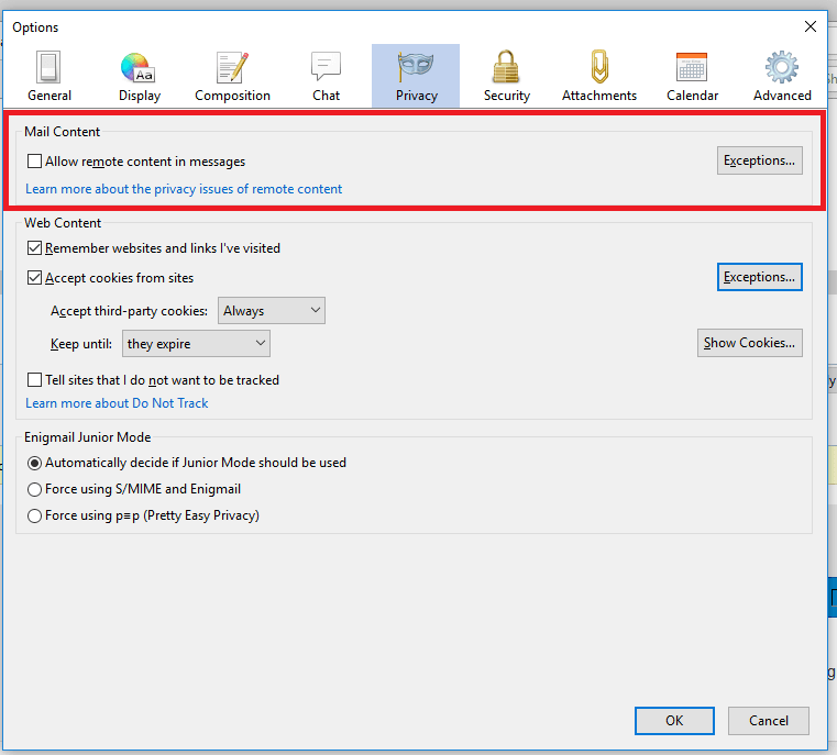 Handle Remote Content in Mozilla Thunderbird