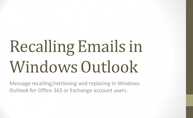 Recall Emails in Windows Outlook