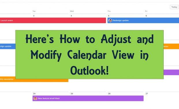 modify calendar view in outlook